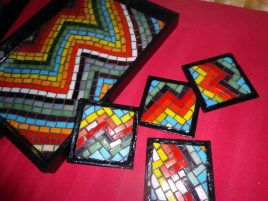 Colouful Tray with Four Coasters1