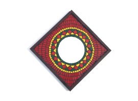 Red Rangoli Mosaic Mirror 12x12