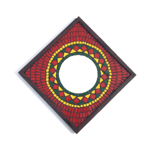 Red Rangoli Mosaic Mirror 12x12