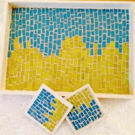 Sea Green & Yellow Tray with Two Coasters